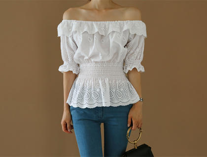Lace off-shoulder blouse