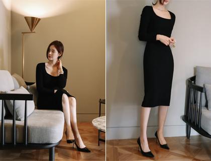 Square wholegar knit dress