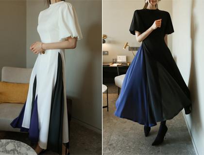 Gored combi dress
