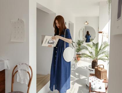Indigo linen dress