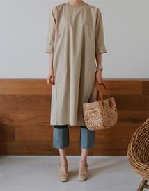 Plain slit dress