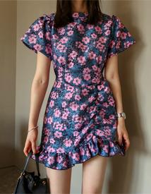 Jacquard mini shirring dress