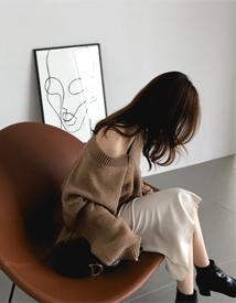 Silky slit skirt