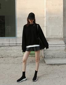 Crush leather shorts