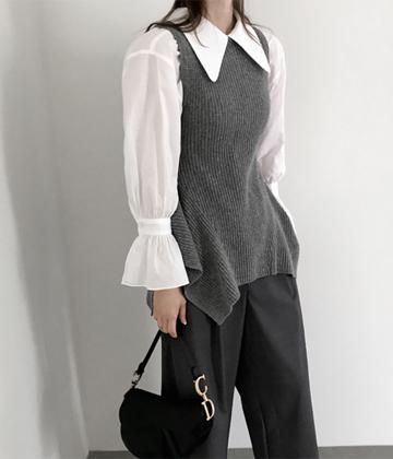 Big-collar blouse