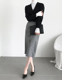 Herringbone slit skirt