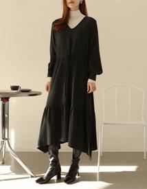 Tencel shirring long dress