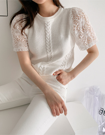 Lace sleeve knit