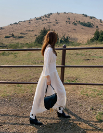 Shawl collar long dress