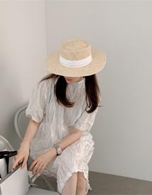 White Rattan hat