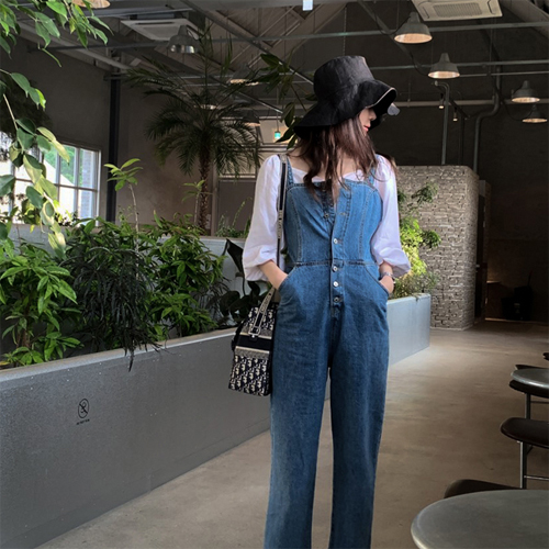 Denim button overall