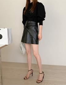 Twist leather skirt