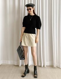 Fake leather mini skirt