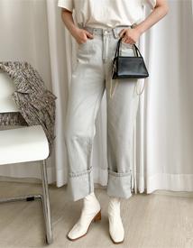 Gray wide denim pants