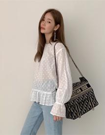 Dot white blouse