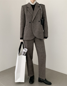 Herringbone set up pants