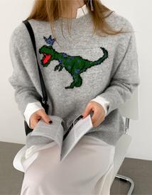 Dinosaur angora knit