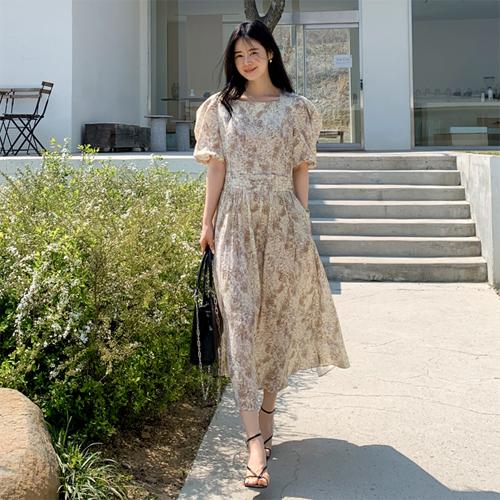 Marbling long dress