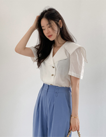 Marine collar blouse