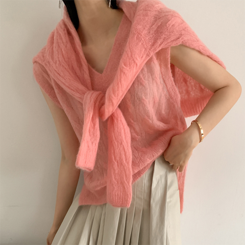 See through knit vest
