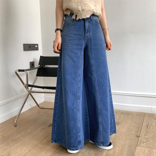 Retro over denim pants