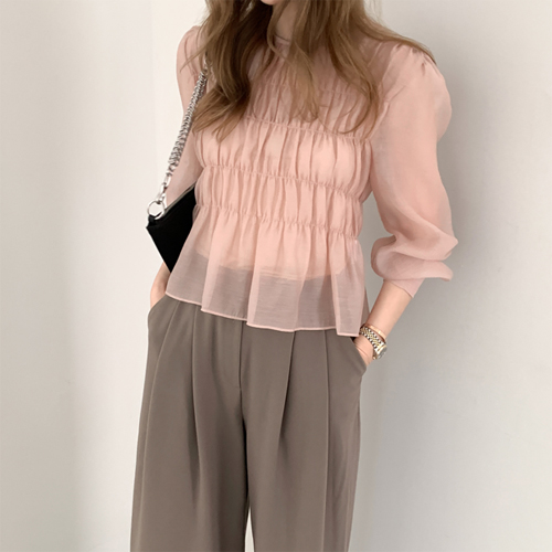 Shine wrinkle blouse