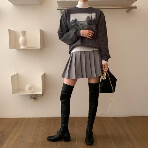 Knit pleats skirt