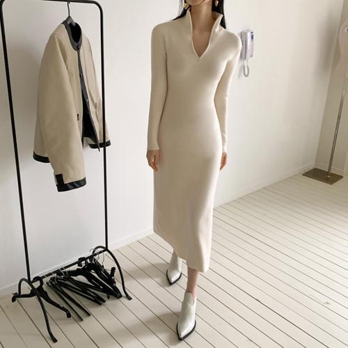 Latte knit dress