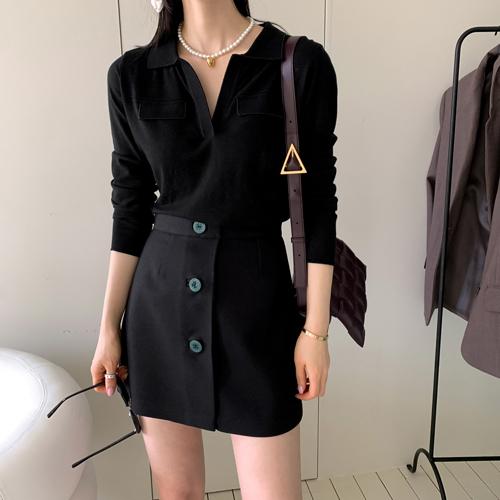 Pearl collar knit *블랙, 3월22일이후 입고예정*