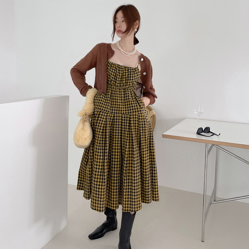 Comming check dress